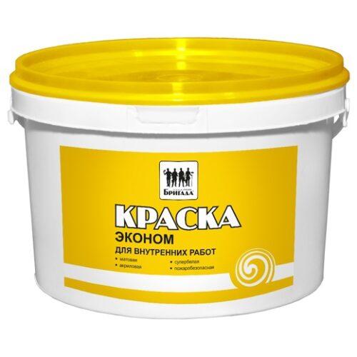 Краска «Бригада» для стен и потолков Эконом 5 кг