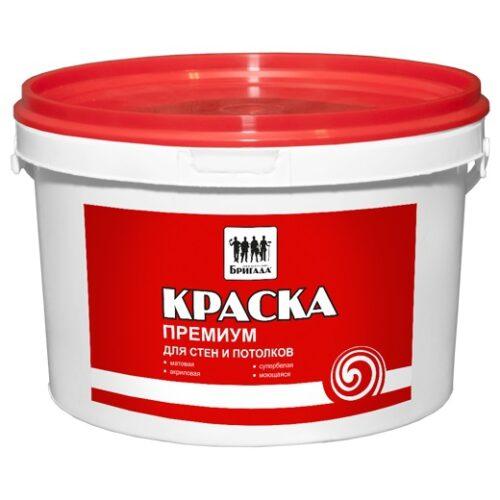 Краска «Бригада» для стен и потолков Премиум 5 кг