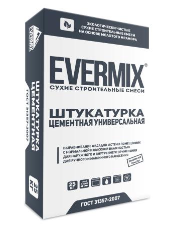 Штукатурка цементная универсальная Evermix 25 кг