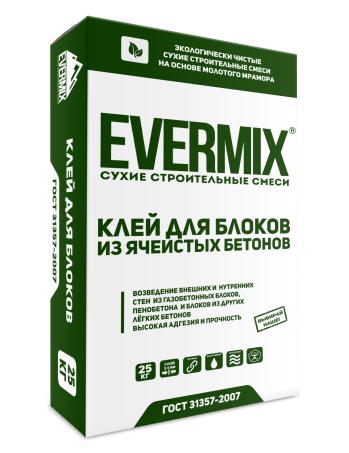 Клей для блоков из ячеистых бетонов Evermix 25 кг