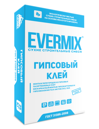 Клей гипсовый для ГКЛ и блоков Evermix 25 кг